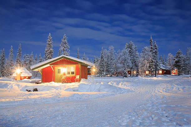 Winter landscape at Night Lapland Sweden stock photo