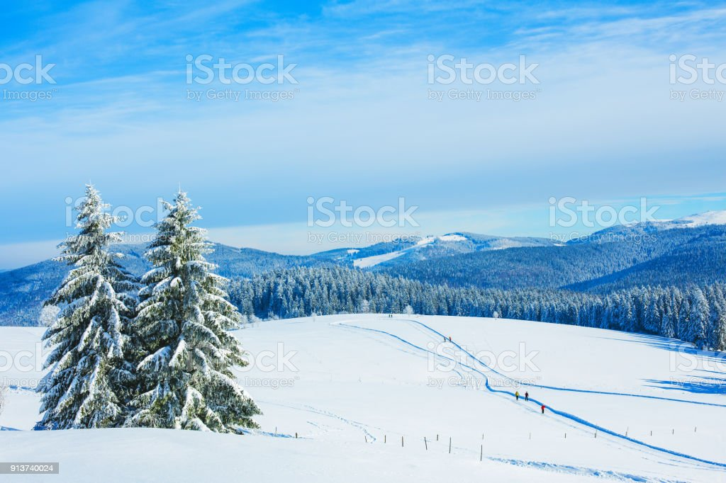 Winter landscape at Schauinsland in Black Forest, near Feldberg, Germany stock photo