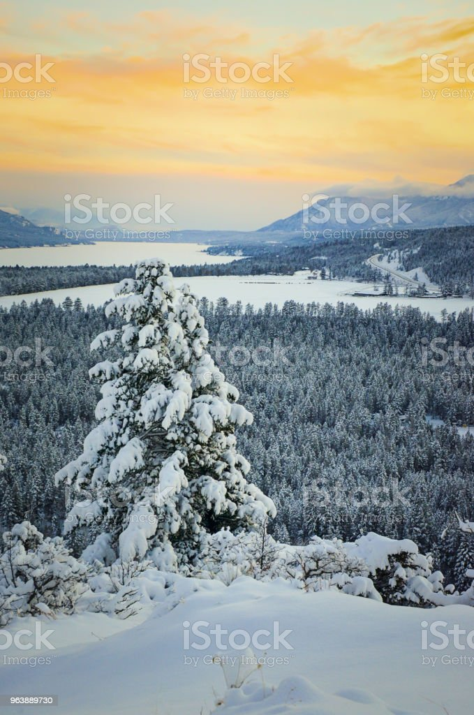 Winter Landscape at Sunset in Fairmont Hot Springs - Royalty-free British Columbia Stock Photo
