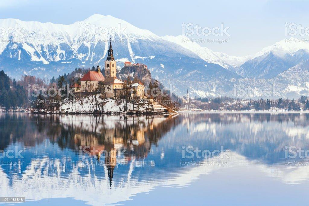 Winter Landscape Bled Lake Slovenia Stock Photo Download