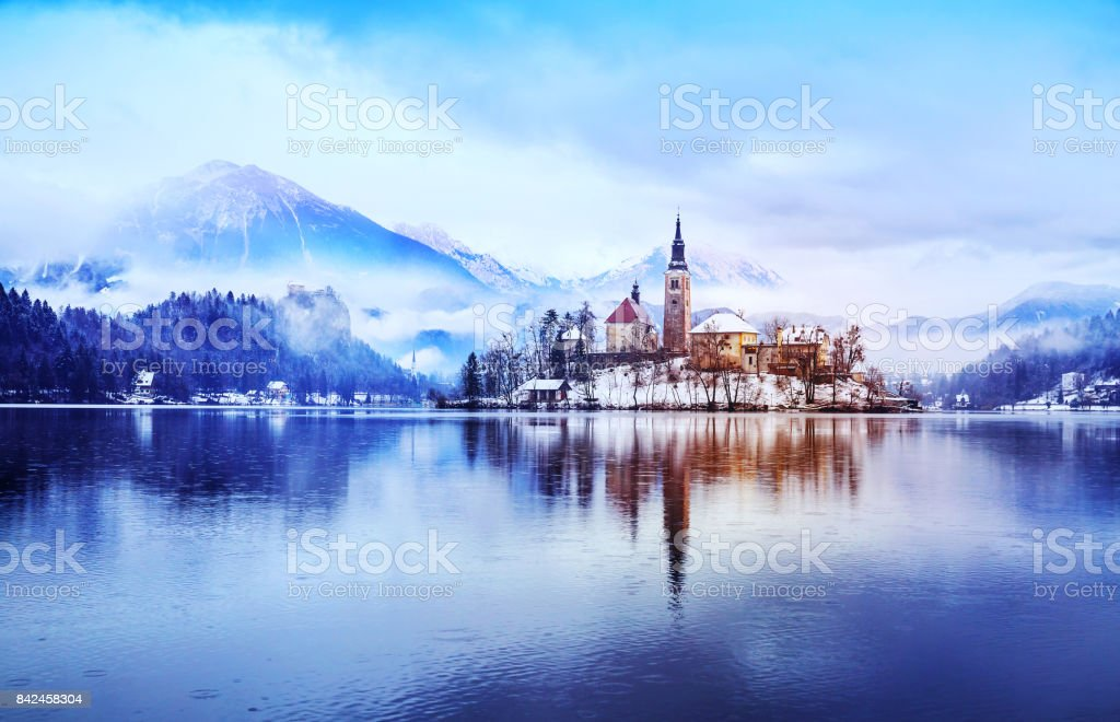 Winter landscape Bled Lake. Travel Slovenia, Europe. stock photo
