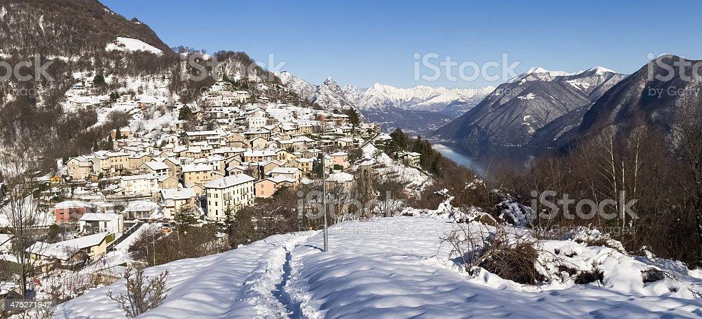 Winter landscape from Monte Bre stock photo