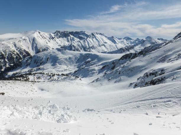 Winter landscape from Todorka peak, Pirin Mountain, Bulgaria stock photo