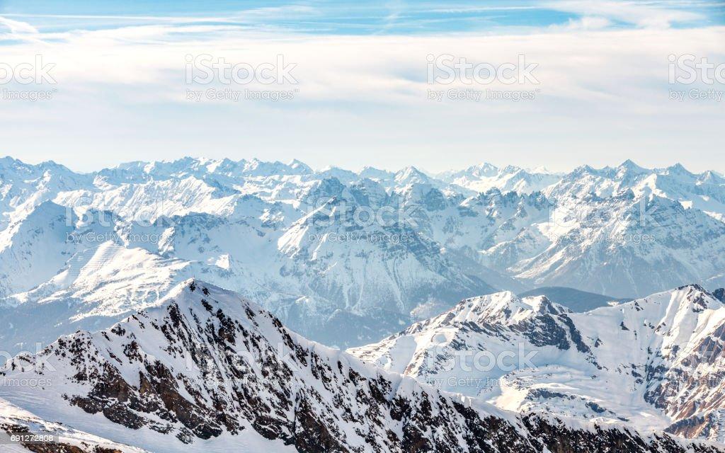 Winter landscape in Alps stock photo