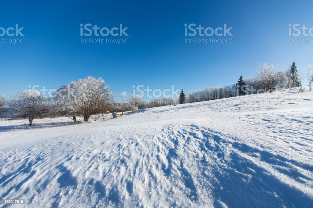 Winter landscape in dolnoslaskie region, Poland stock photo