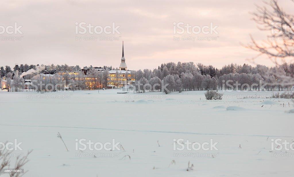Winter landscape in Finland stock photo