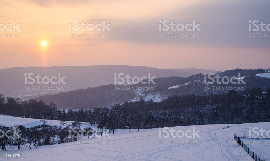 Winter landscape in January stock photo