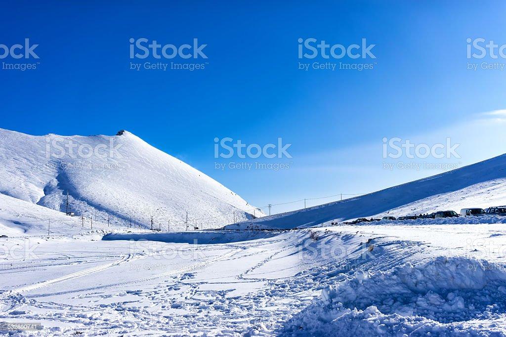 Winter landscape in Kaimaktsalan, Greece. stock photo