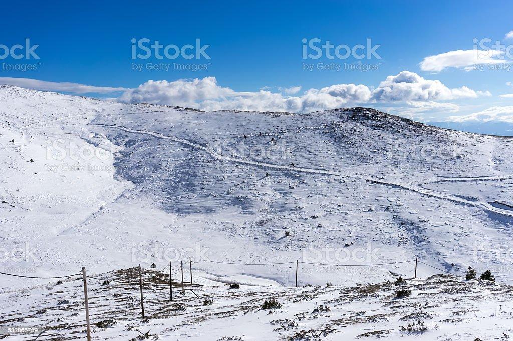 Winter landscape in Kaimaktsalan stock photo