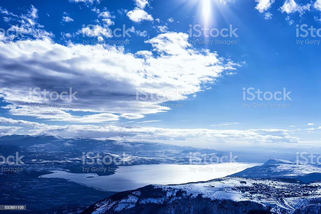 Winter landscape in Kaimaktsalan ski center stock photo