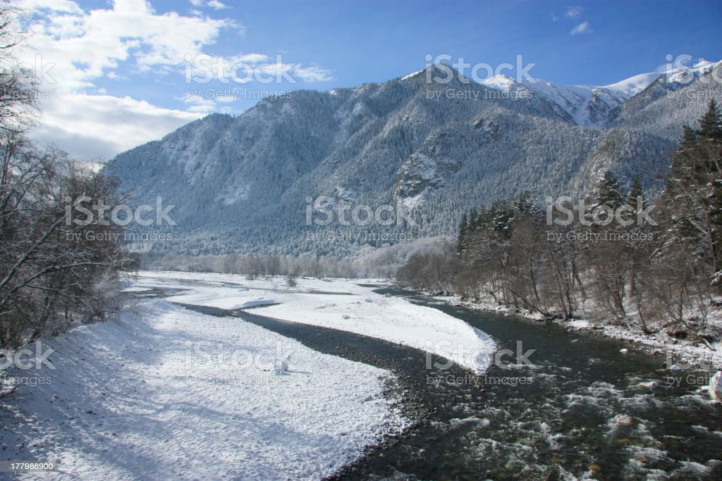Winter landscape in mountains royalty-free stock photo