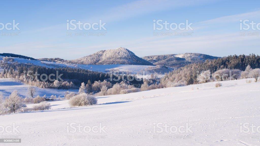 Winter landscape in Poland stock photo