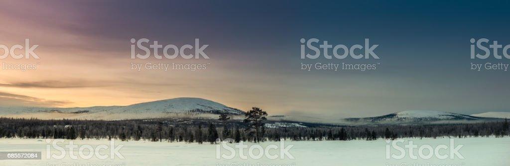 러시아 라플란드, 콜라 반도에 겨울 풍경 royalty-free 스톡 사진