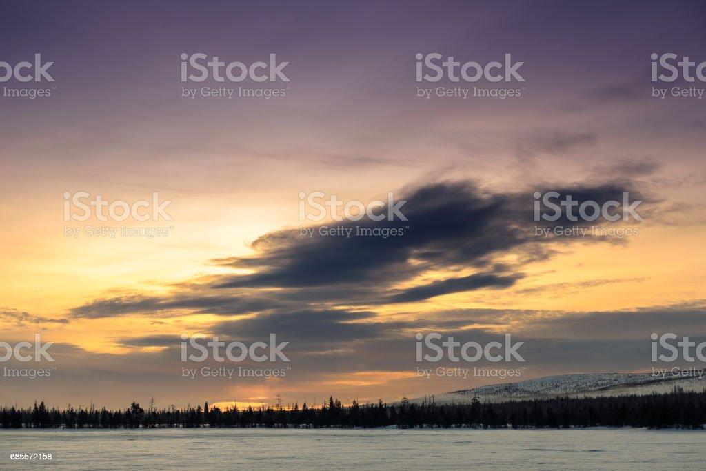在俄羅斯的拉普蘭,柯拉半島的冬景 免版稅 stock photo