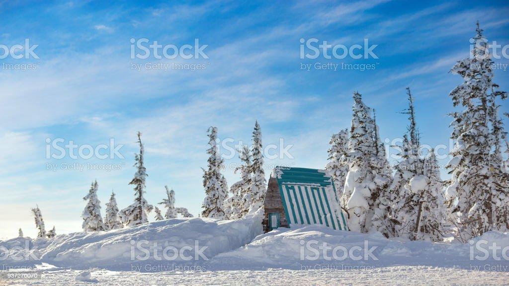 Winter landscape in Sheregesh ski resort. stock photo
