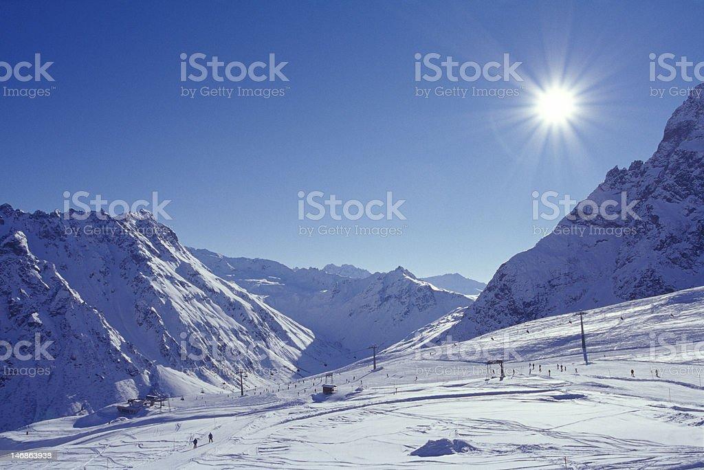 Winter Landscape in skiing resort stock photo