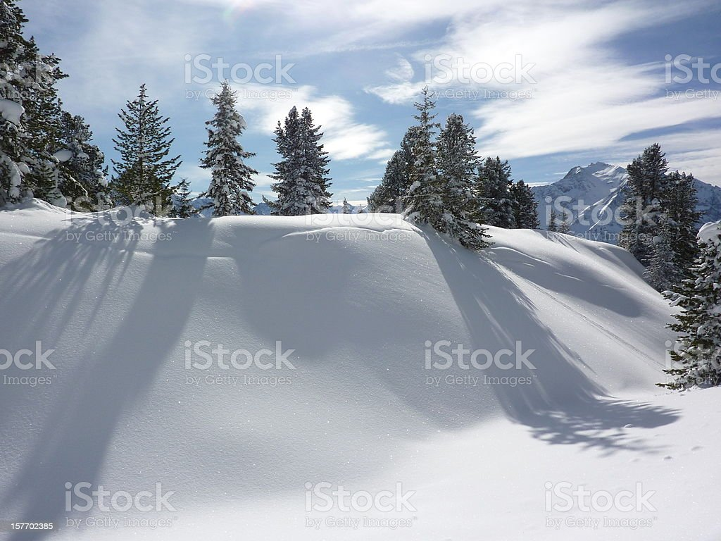 Winter landscape in the Alps at Christmas stock photo