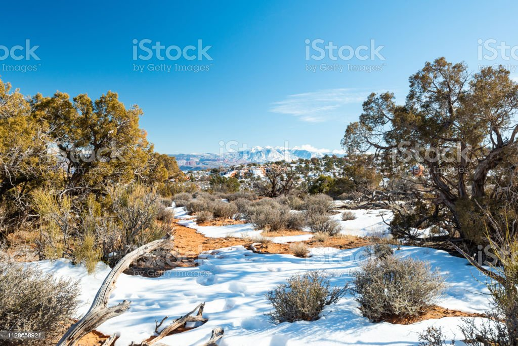 Winter Landscape In The Arches National Park In Utah Stock