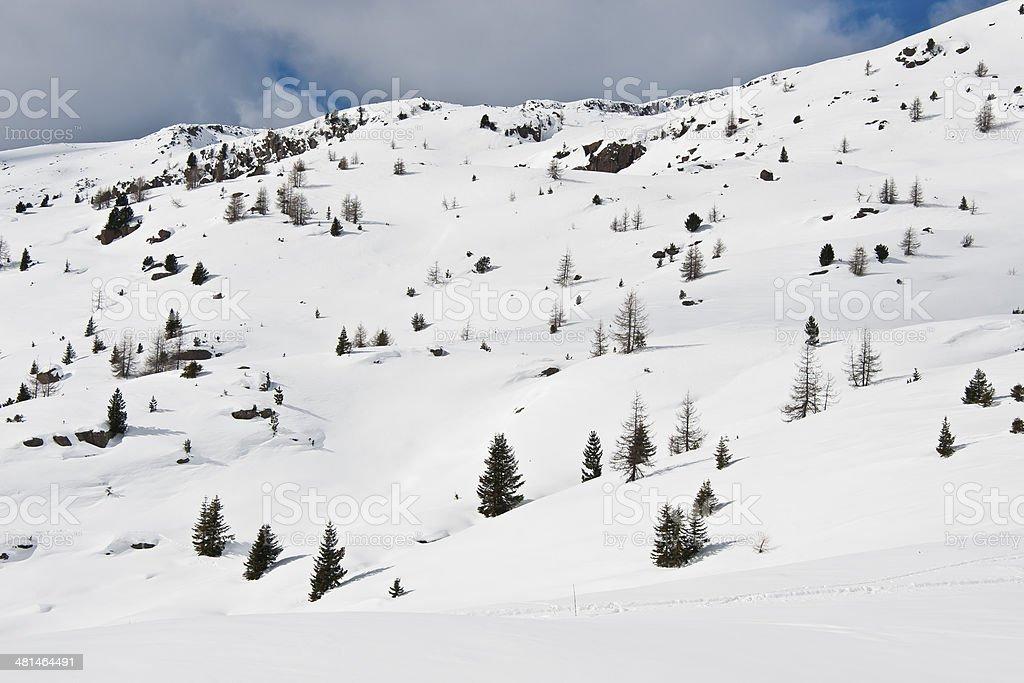 Winter Landscape in the Dolomiti stock photo
