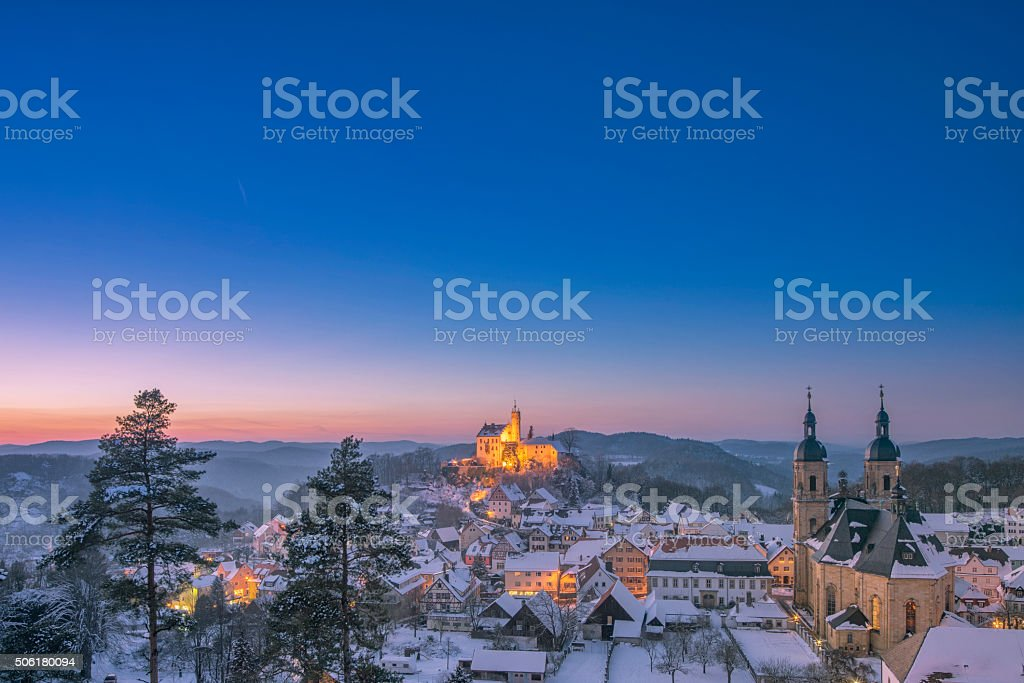 Winter landscape in the Franconian Switzerland, Goessweinstein (Gößweinstein) at dusk stock photo