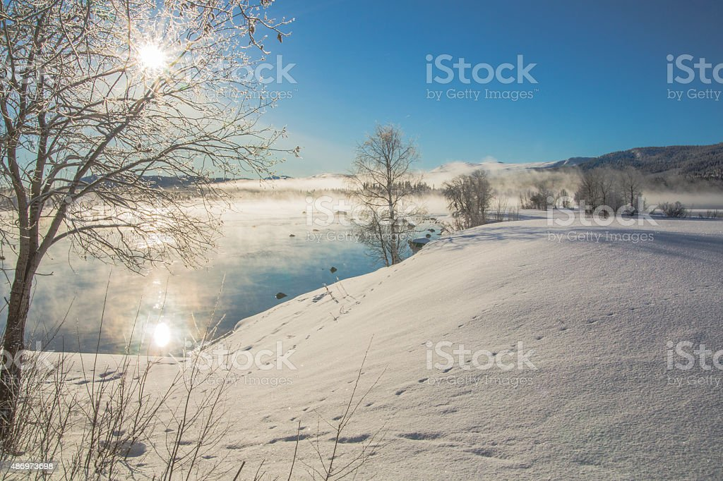Winter landscape in Tjåmotis stock photo
