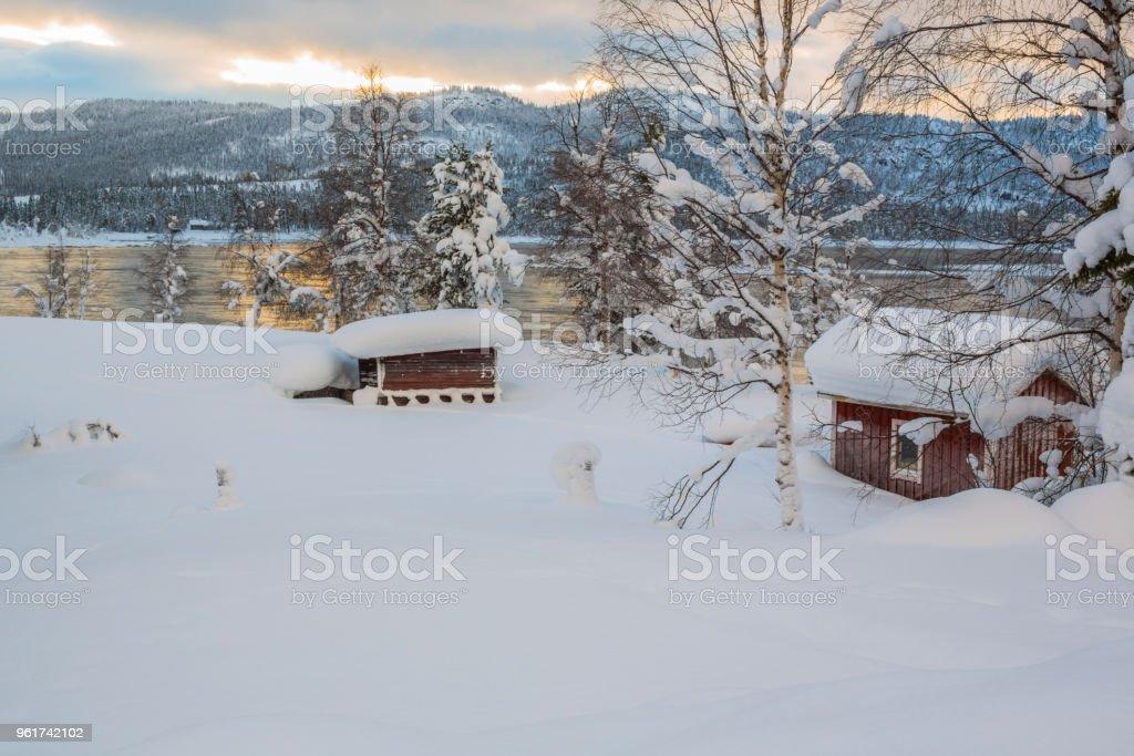 Winter landscape in Tjåmotis stock photo