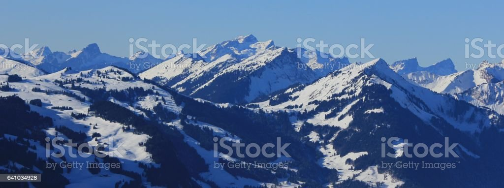Winter landscape in Vaud Canton, Switzerland stock photo
