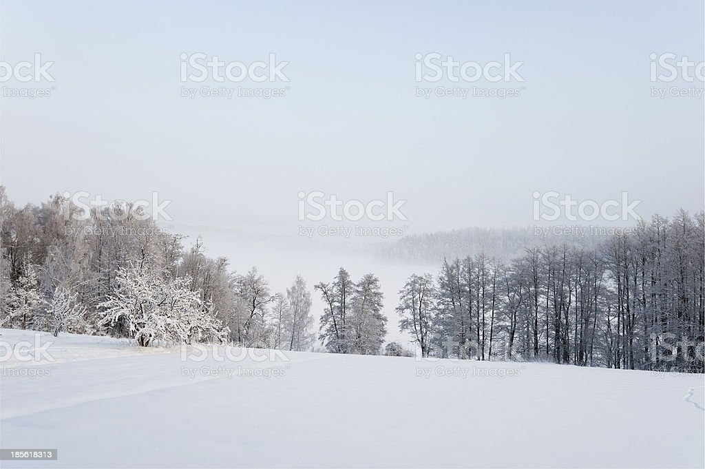 Winter landscape in very cold weather royalty-free stock photo