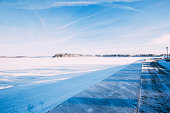 Winter landscape in Russia, Istra lake and trees