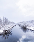 Winter scenery in Quebec Canada. First snow landscape with room for text