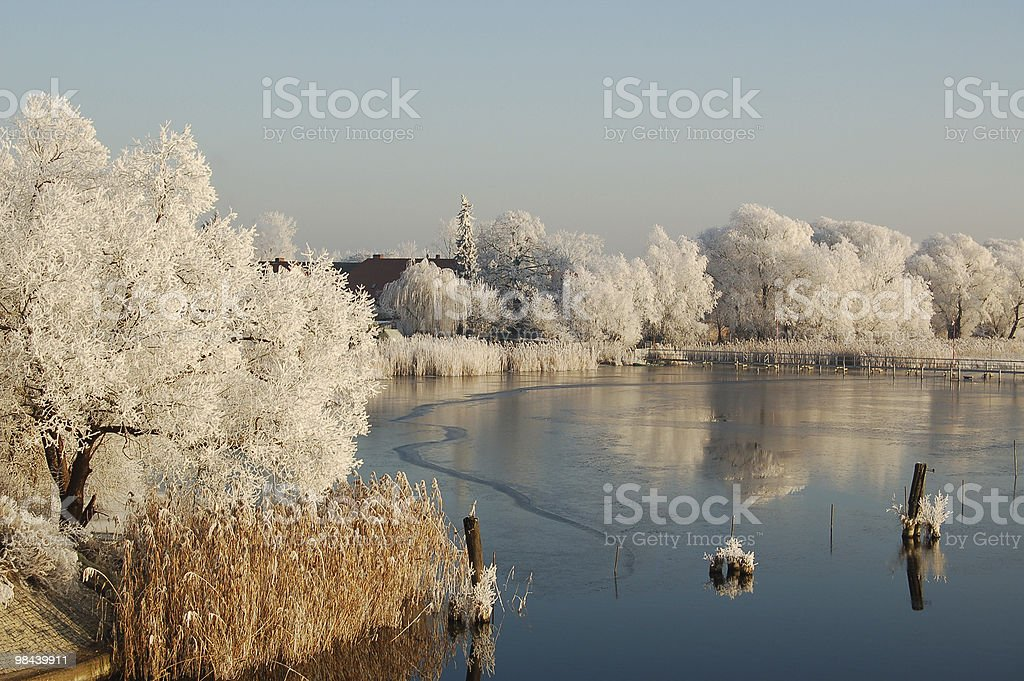 winter landscape of a lake royalty-free stock photo