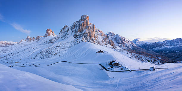 Winter landscape of Passo Giau, Dolomites, Italy Winter morning landscape of Passo Giau, Dolomites, Italy trentino alto adige stock pictures, royalty-free photos & images