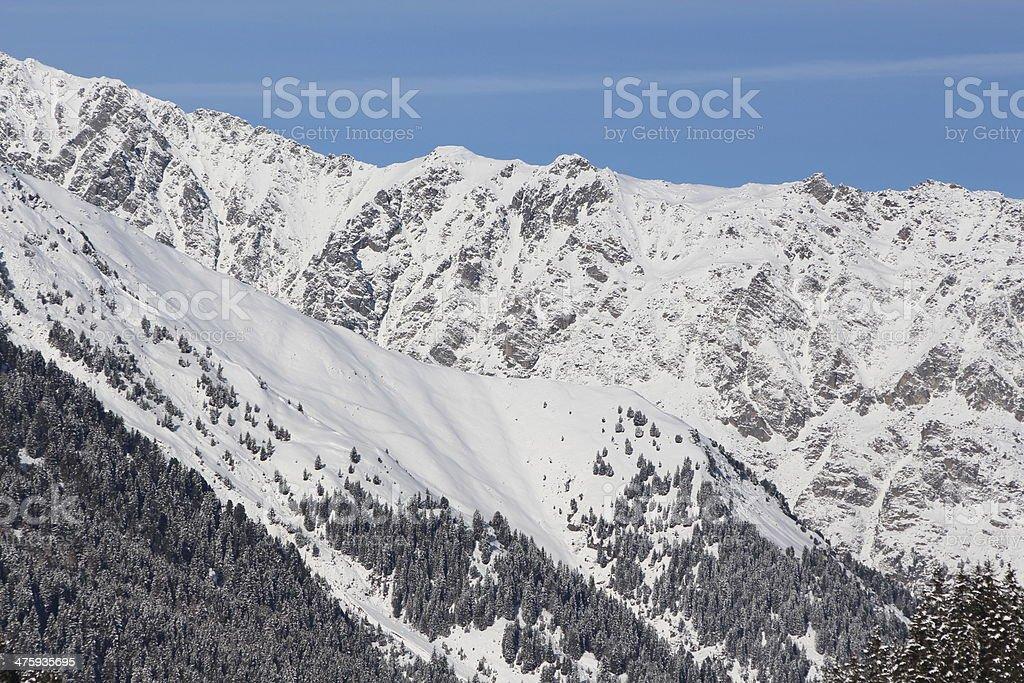 Winter Landscape of the Alpine Region Lüsens, Praxmar, Sellraintal, Tyrol royalty-free stock photo