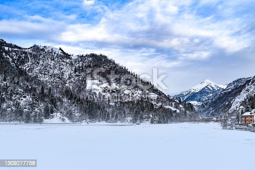 istock Winter landscape of the Dolomites mountains in Italy. 1309277758