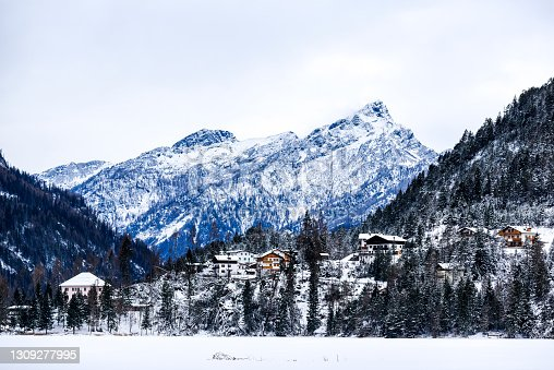 istock Winter landscape of the Dolomites mountains in Italy. 1309277995