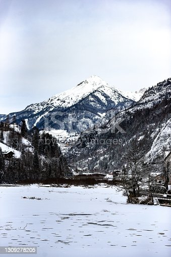 istock Winter landscape of the Dolomites mountains in Italy. 1309278205