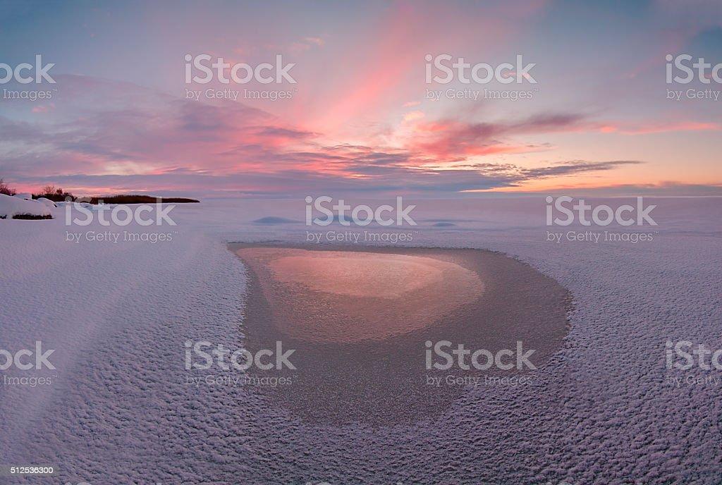 Winter landscape on Chudskoy lake stock photo