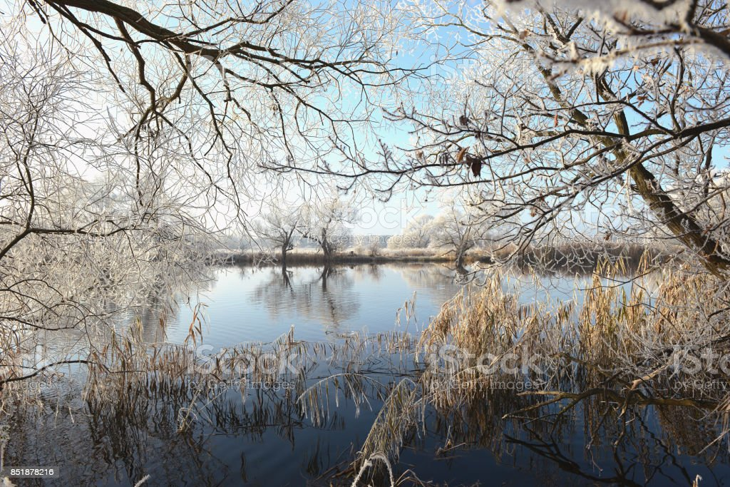 Winter landscape on Havel River. Early Morning. stock photo