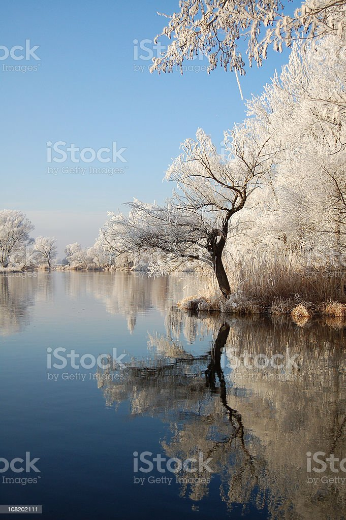 Winter landscape on river Havel royalty-free stock photo