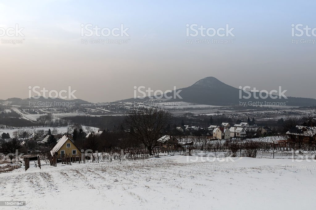 Winter landscape on the Balaton Uplands stock photo