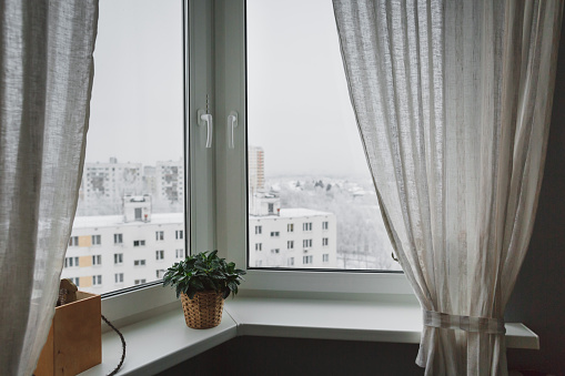 Winter Landscape Outside The Window With Curtains Stock Photo - Download Image Now