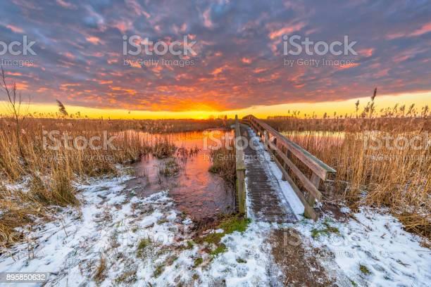 Photo of Winter landscape pathway over wooden bridge