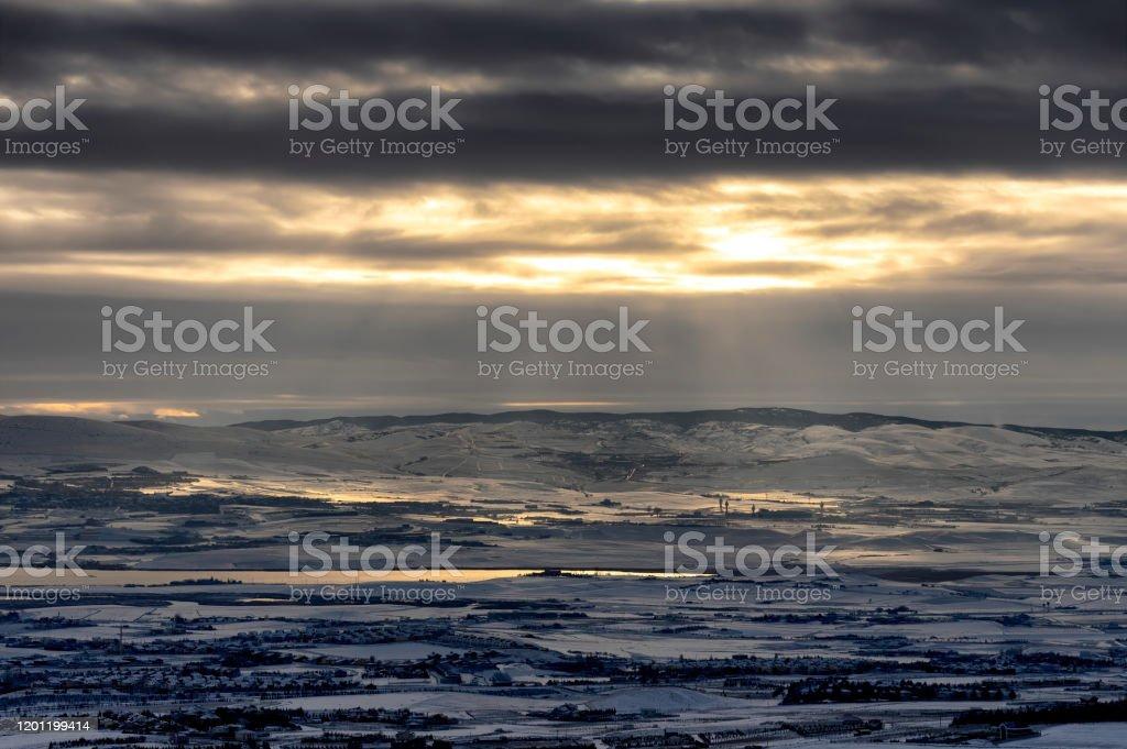 Winter Landscape Winter landscape during a cloudy day Ankara - Turkey Stock Photo