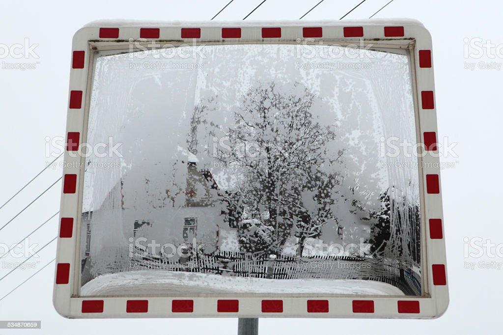 Winter Landscape Reflecting In The Convex Mirror Stock Photo