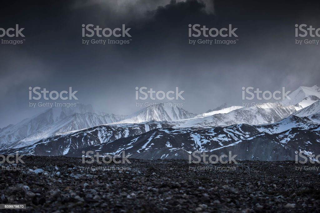 Winter landscape snow mountain high angle view from airplane Leh Ladakh India. stock photo