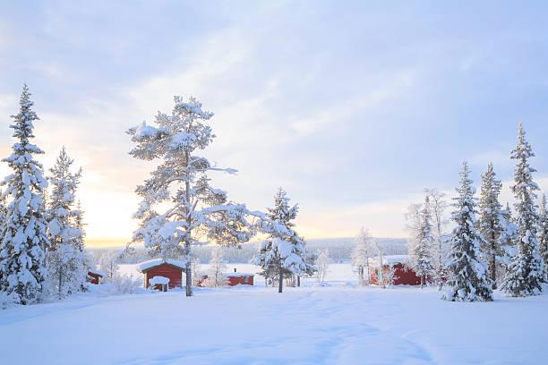 Winter landscape Sweden lapland stock photo