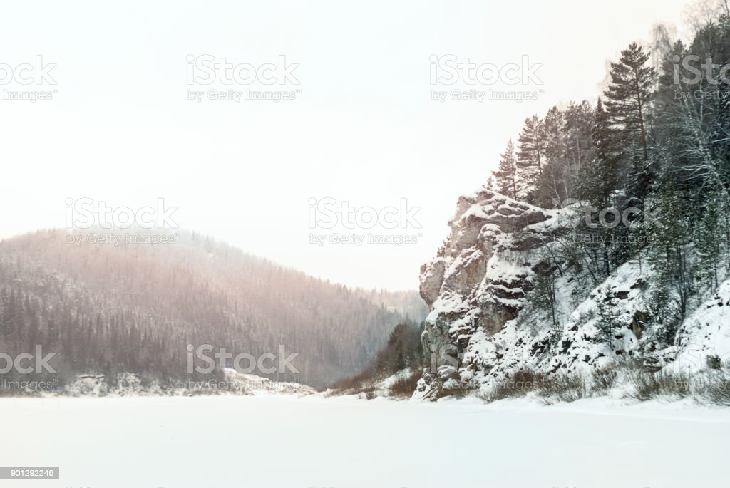 winter landscape: the valley of the frozen river'n'n stock photo