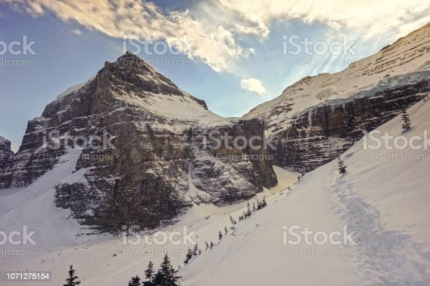 Photo of Winter Landscape View of Victoria Glacier between Banff and Yoho National Park, Canadian Rocky Mountains