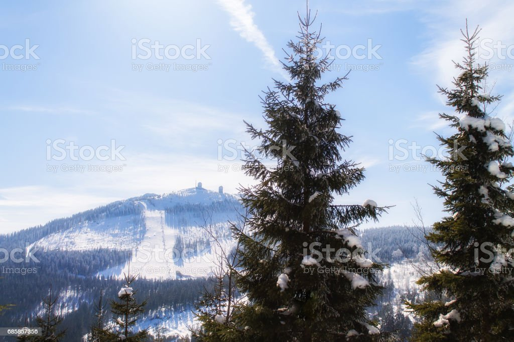 Winter landscape view to the mountain bis arber, Bavaria stock photo