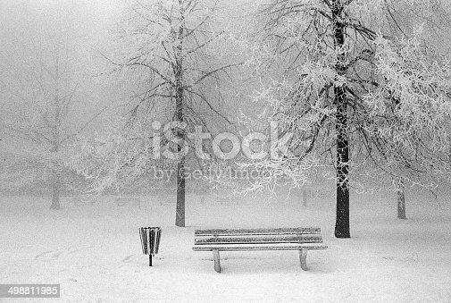 1034754000istockphoto Winter landscape with a bench 498811985